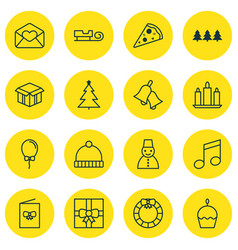 Set of 16 celebration icons includes balloon vector