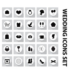 wedding set of icons design elements black vector image