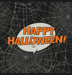 Halloween postcard spider web and greetings art vector