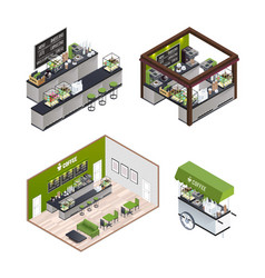 isometric coffee shops set vector image
