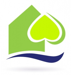 Green nature eco house icon vector