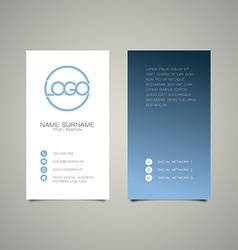 Modern simple vertical business card template vector
