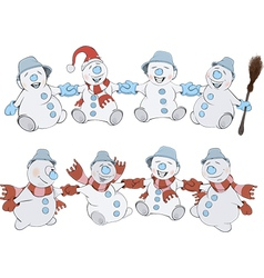 Two rows of christmas snowmans vector