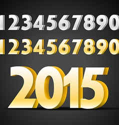 Metal digits collection Happy new 2015 year vector image