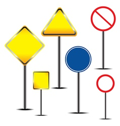 Blank warning road sign vector