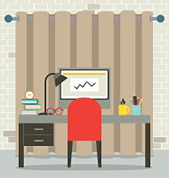 Empty workplace flat design vector