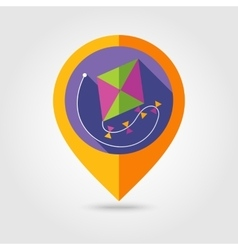 Kite flat mapping pin icon with long shadow vector