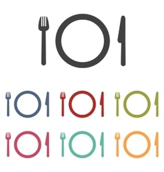 Fork plate and knife icons set vector