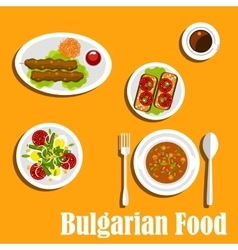 Bulgarian cuisine nutritious dinner dishes vector