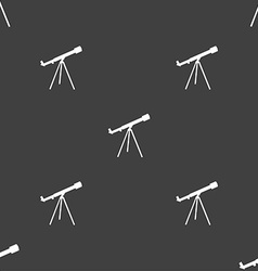 Telescope icon sign seamless pattern on a gray vector
