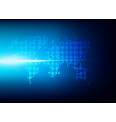 Abstract background dot world map on blue vector image