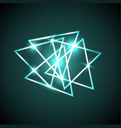 Abstract background with green neon triangles vector