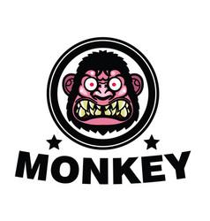 angry monkey head vector image vector image