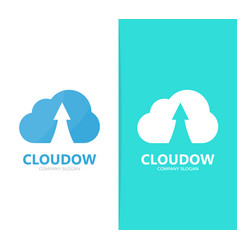 Arrow up and cloud logo combination vector