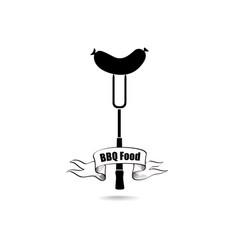 bbq food sign sausage icon vector image