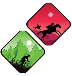 Biker and horse rider silhouette vector image vector image