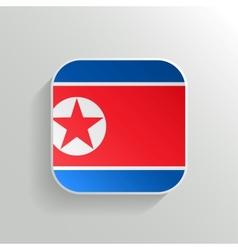 Button - north korea flag icon vector