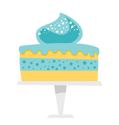 Cake on a cake stand cartoon vector