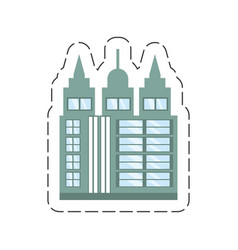 Cartoon building skyscraper icon vector