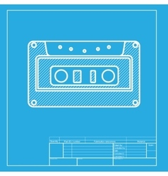 Cassette icon audio tape sign white section of vector