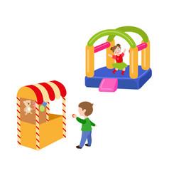 Children in amusement park set vector
