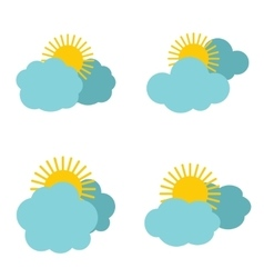Cloud icons with sun on white background vector image vector image