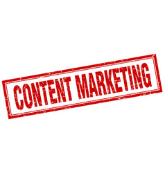 Content marketing red square grunge stamp on white vector