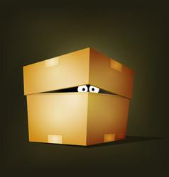 Creature inside birthday cardboard box vector