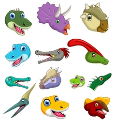 Dinosaur head cartoon collection set vector