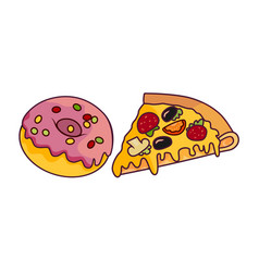 donut with glaze icing pizza slice set vector image