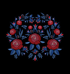 Embroidered composition of roses flowers buds and vector