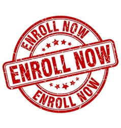 enroll now red grunge round vintage rubber stamp vector image vector image