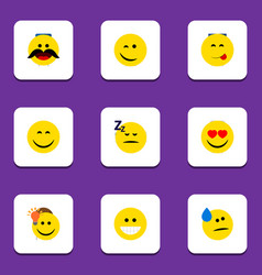 Flat icon gesture set of grin winking cheerful vector