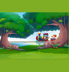 forest scene with kids on the train vector image vector image
