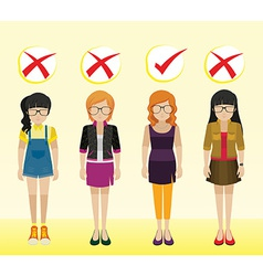 Girls with different attires vector image vector image