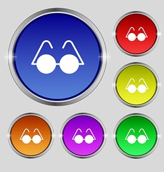 Glasses icon sign round symbol on bright colourful vector