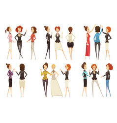 groups of businesswomen cartoon style set vector image