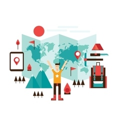 Happy man ready for travel adventures Mountain vector image vector image
