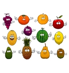 Happy ripe and fresh cartoon fruits vector image