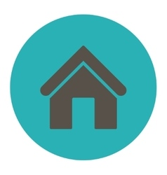 Home flat grey and cyan colors round button vector