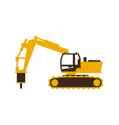 Icon excavator with his hammer construction vector