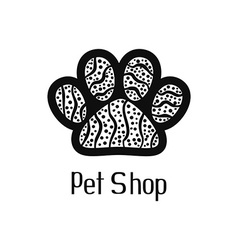 Original pet shop logo with pet paw vector image vector image