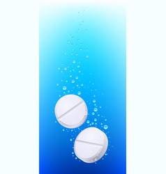 Pills in water on white background for creative vector
