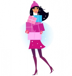 pink shopping girl with gifts vector image