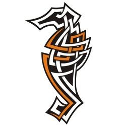 seahorse tribal icon vector image vector image