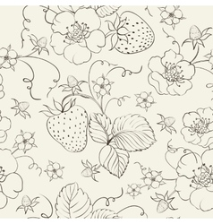 Seamless pattern of bright strawberry vector