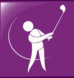 Sport icon for golf on purple vector image