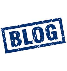 Square grunge blue blog stamp vector
