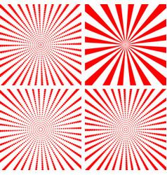 sunburst set red vector image