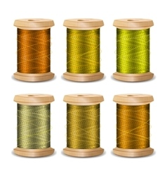 Thread spool set bright old wooden bobb vector